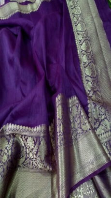 Dark Purple Handloom Banarasi Linen Silk Saree.-yespoho
