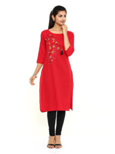 Pink Cotton Straight Womens Long Kurti.-yespoho