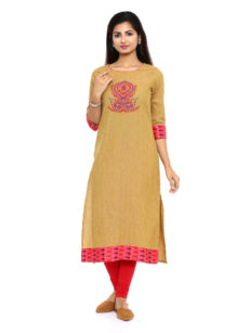Mustard Cotton Straight Womens Long Kurti-yespoho