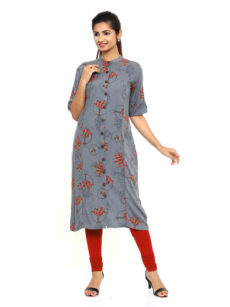 Grey Rayon Straight Womens Long Kurti-yespoho