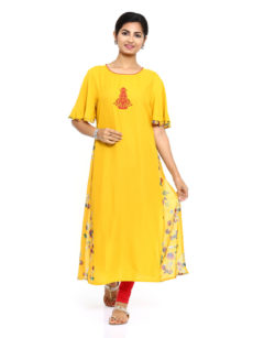 Yellow Rayon Straight Womens Long Kurti-yespoho