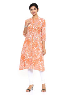Orange Cotton A-Line Womens Long Kurti-yespoho