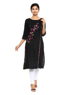 Black Rayon Straight Womens Long Kurti.-yespoho