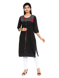 Black Cotton Straight Womens Long Kurti-yespoho