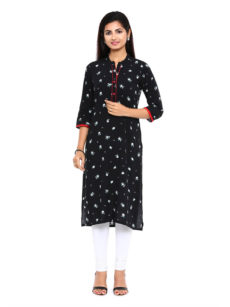 Black Rayon Straight Womens Long Kurti-yespoho