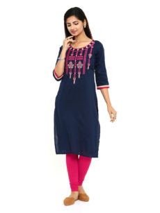 Navy Blue  Rayon Straight Womens Long Kurti-yespoho