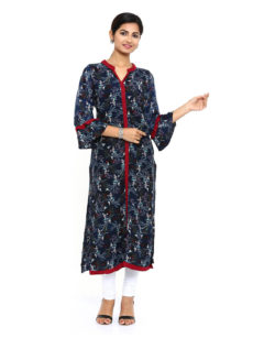 Indigo Rayon Straight Womens Long Kurti-yespoho
