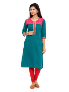 Green Cotton Straight Womens Long Kurti-yespoho