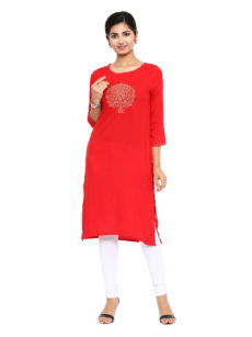Red Rayon Straight Womens Long Kurti-yespoho