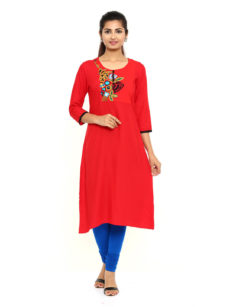 Pink Rayon Straight Womens Long Kurti-yespoho