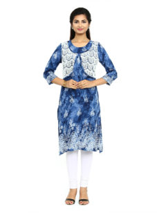 Blue Rayon Straight Womens Long Kurti-yespoho