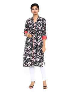Multi Rayon Straight Womens Long Kurti-yespoho