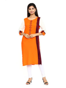 Orange Rayon Straight Womens Long Kurti-yespoho