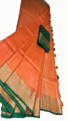 Orange & Green Slub Cotton Saree-yespoho