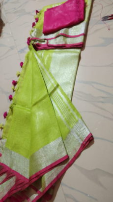 Green & Pink Salab Cotton Saree-yespoho