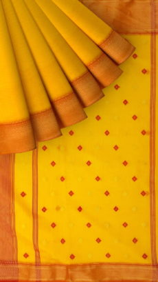 Mustard Yellow &  Bright Orange traditional Silk Cotton Saree.-yespoho
