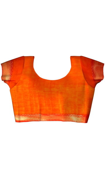 Mustard Yellow &  Bright Orange traditional Silk Cotton Saree. with Unstitched Blouse