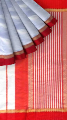 Red, White Traditional  Plain silk saree-yespoho