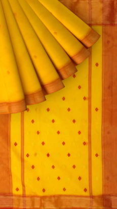 Yellow,Orange Traditional Buti Silk Cotton Saree-yespoho