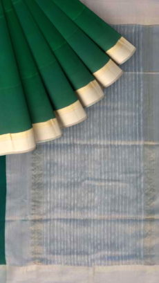 Bottle Green ,Grey Plain Silk saree.-yespoho