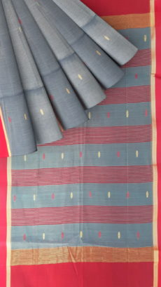 Red ,GreyTraditional  ButI cotton silk saree.-yespoho