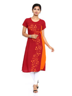 Maroon Rayon Straight Womens Long Kurti-yespoho