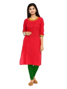 Red Cotton Straight Womens Long Kurti-yespoho