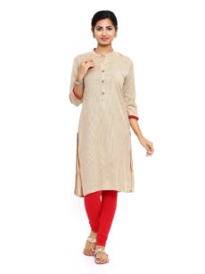 Beige Rayon Straight Womens Long Kurti-yespoho