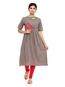 Brown Cotton Flared Womens Long Kurti-yespoho