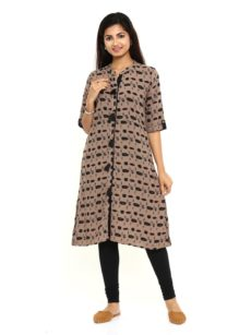 Grey Printed Rayon Straight Womens Long Kurti-yespoho