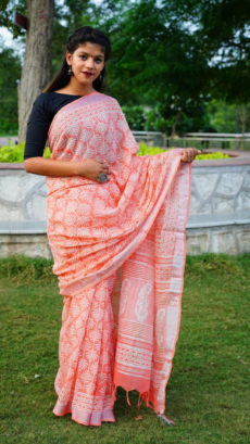 Peach Cotton linen Printed  leafs  Motifs saree-yespoho