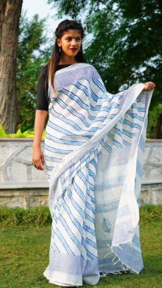 White ,blue  Cotton linen Printed  strips pattern saree-yespoho