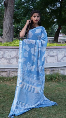 Blue,White  Cotton linen Printed Leaf pattern saree-yespoho