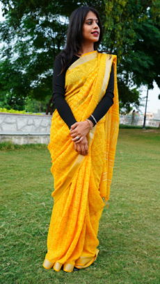 Yellow Cotton linen Printed Flora  pattern saree-yespoho