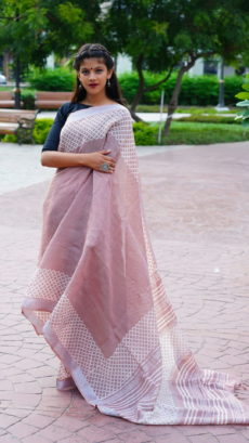 Light violate Cotton linen Printed saree-yespoho