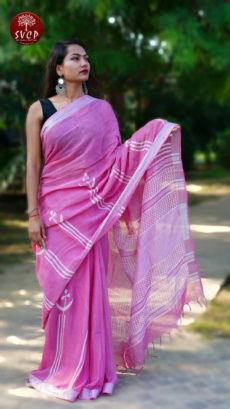 Pink Cotton linen Printed Floral Lines Motif saree-yespoho