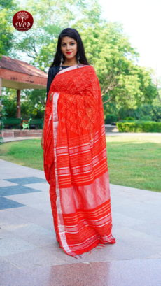 Red Cotton linen Printed Floral  Motif saree-yespoho