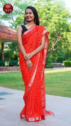 Red Cotton linen Printed Flower Motif saree-yespoho