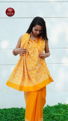 Yellow Cotton  Printed Flower Motif saree-yespoho