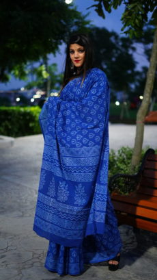 Blue Cotton  Printed Flower Motif saree-yespoho