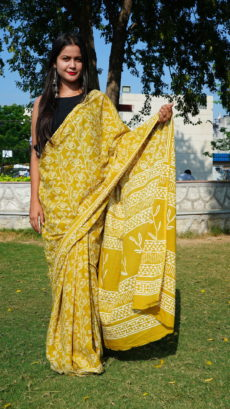 Mustached Yellow Cotton Printed Flower Motif saree-yespoho