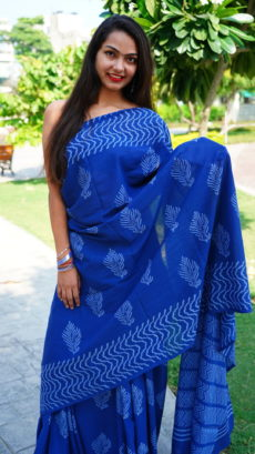Blue Cotton Printed peacock Feather Motif saree.-yespoho