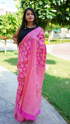 Pink Cotton Floral Printed  saree.-yespoho