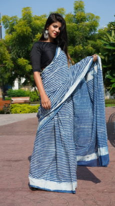 Blue  Cotton Line Printed saree-yespoho