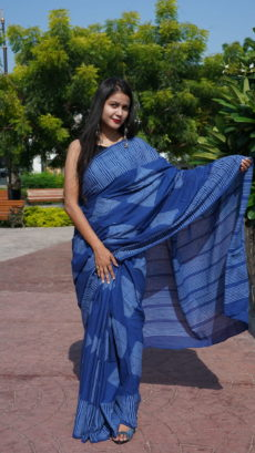 Dark Blue Cotton Diamond Printed saree-yespoho