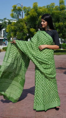 Light Green  Cotton Flower Printed saree-yespoho