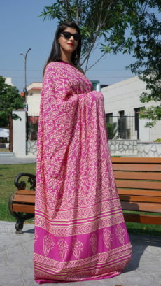 Pink Cotton All Over Floral Printed saree-yespoho