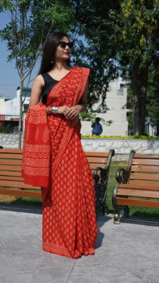 Red Cotton  Small Floral Printed saree-yespoho