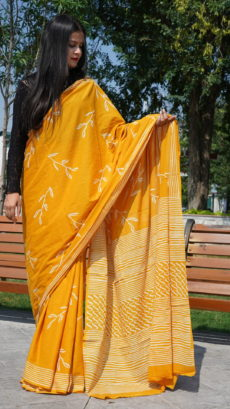 Mustard Yellow Floral Printed saree.-yespoho