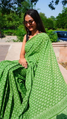 Light Green Cotton  Small Floral Printed saree-yespoho